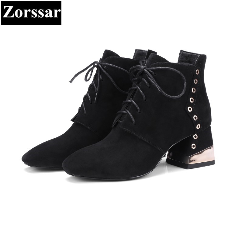 {Zorssar} 2017 NEW large size Female shoes Fashion lace-up Square Toe High heels ankle Martin boots winter fur womens snow boots front lace up casual ankle boots autumn vintage brown new booties flat genuine leather suede shoes round toe fall female fashion