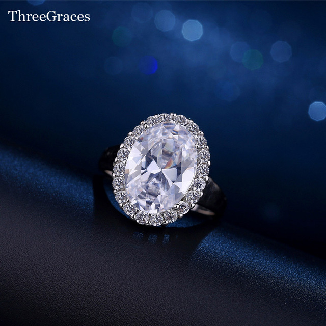 c5a83d2a0342d US $5.14 35% OFF ThreeGraces Gorgeous 6 Carat Big Oval Cubic Zircon Party  Ring White Gold Color CZ Finger Rings Women Fashion Jewelry RG050-in Rings  ...