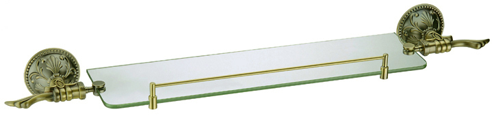 Европейский стиль ванная аксессуары роскошный латунь антикварный бронза позолоченное один стекло полка AB012b