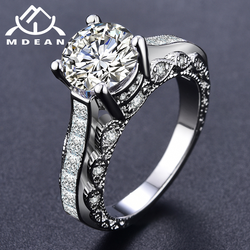 MDEAN White Gold Color Ring for Women Engagement Wedding White Noble AAA Zircon Jewelry Bague Bijoux Size 5-12 H1190