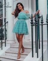Blue Short Sleeve Bare shoulder Strapy Mini Bodycon Women Dresses 2018