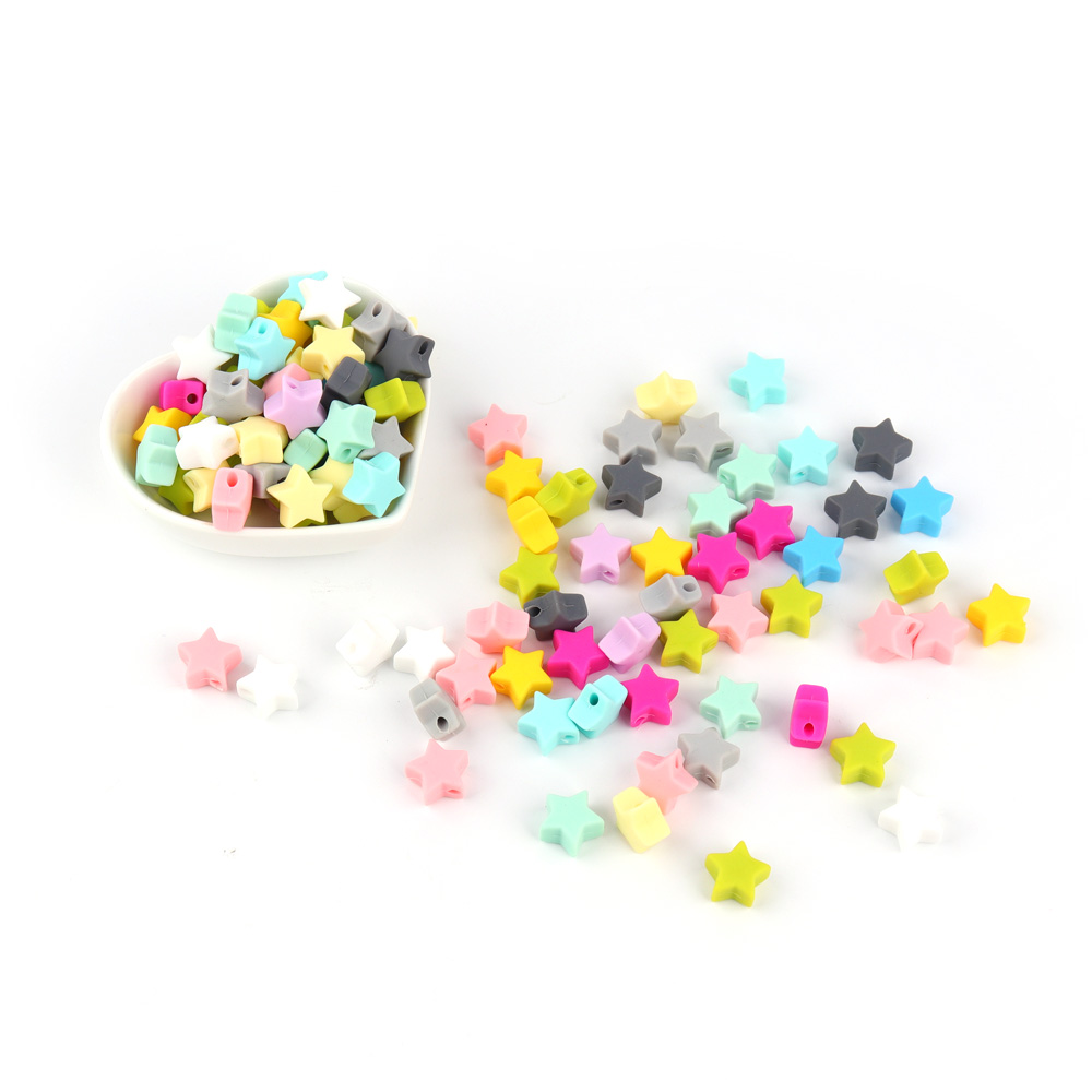 10pcs Silicone Star Beads 14mm Food Grade Teether Beads BPA Free Ecofriendly Beads Bracelet Diy Jewelry Baby Teething Silicone