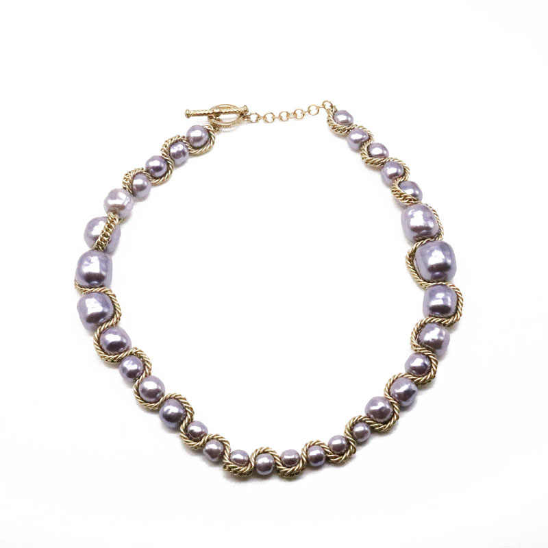 Free Shipping Gray Pearl Chain Braided Choker Necklace