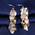 2016 New Gold Earrings For Women Peach Heart Design Fashion Jewelry Earings Frosted Long Earring DP450931