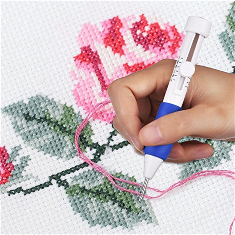 Looen Magic Embroidery Pen Punch Needle Set With 100pcs Threads Embroidery Patterns Punch Needle Kit Craft Tool for DIY Sewing (7)