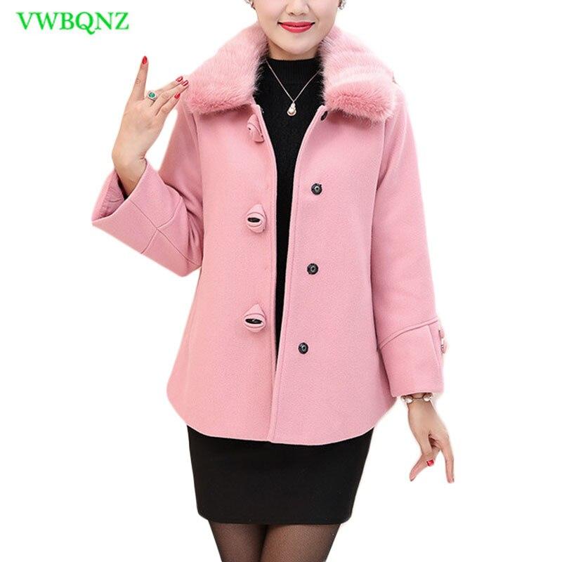 81bbc48311 Melhor Mulheres de meia idade Casaco de Lã Outono Inverno Curto Jaqueta  Plus Size das Mulheres Jaquetas Casacos de Lã Feminino Outerwear Azul 5XL  A725 ...