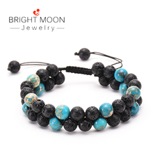 BRIGHT MOON Antique Natural Stone Bracelet Crown Handmade Copper Lava Essential Oil for Women