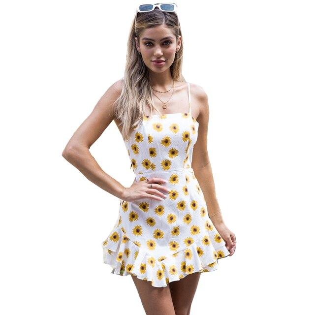 eef5946ff145e FORERUN vestido de verano 2018 mujeres Sexy Ruffle gasa vestido girasol sin  respaldo Bowknot Beach vestidos