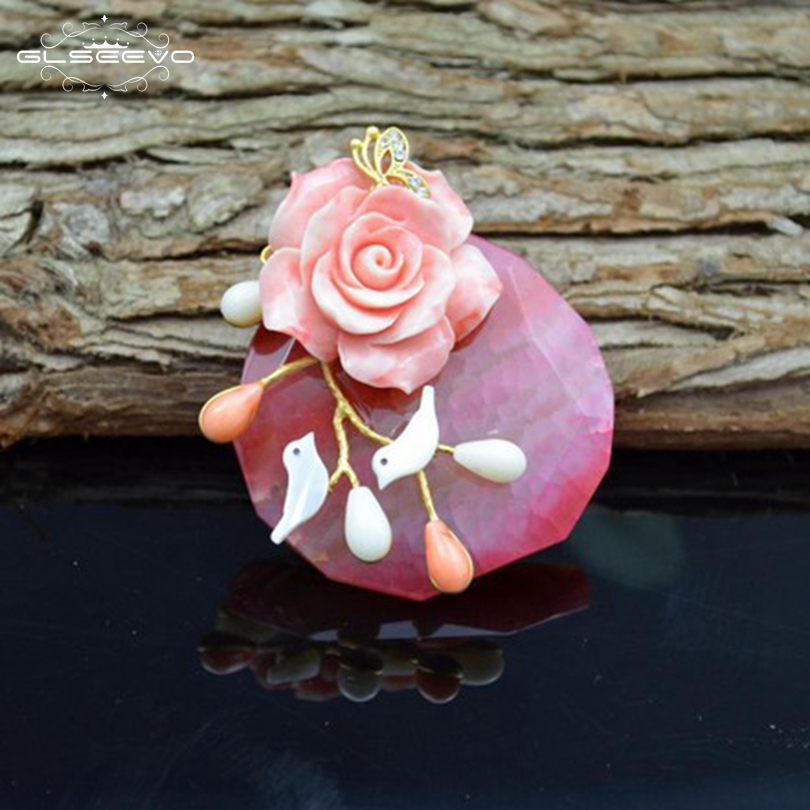 GLSEEVO Natural Pink Stone Brooch Birds Flower Brooches Gift For Women Accessories Fine Jewelry Dual Use Luxury Jewellery GO0092 свитшот print bar flower birds