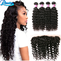 Cheap Deep Curly with Lace Frontal 4 Bundles Peruvian Curly Virgin Hair with Ear to Ear Lace Frontal Closure with Bundles Curly