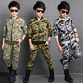 New Fashion Boys Camouflage Tracksuits 2016 Autumn Army Green Kids Long Sleeve Jacket  + Pants Outfit Clothing Sets Age 4-13T
