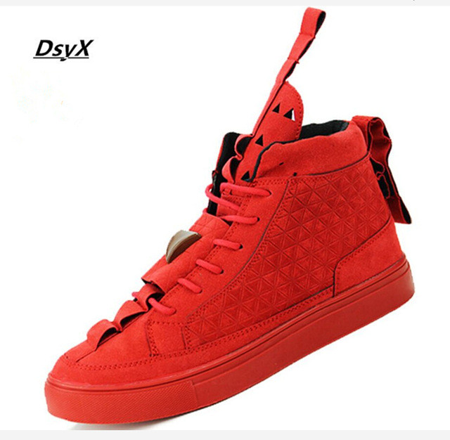 Patrick Mohr Men Flat Triangle Shoes Genuine Leather Nubuck Trend Red Black Casual shoes