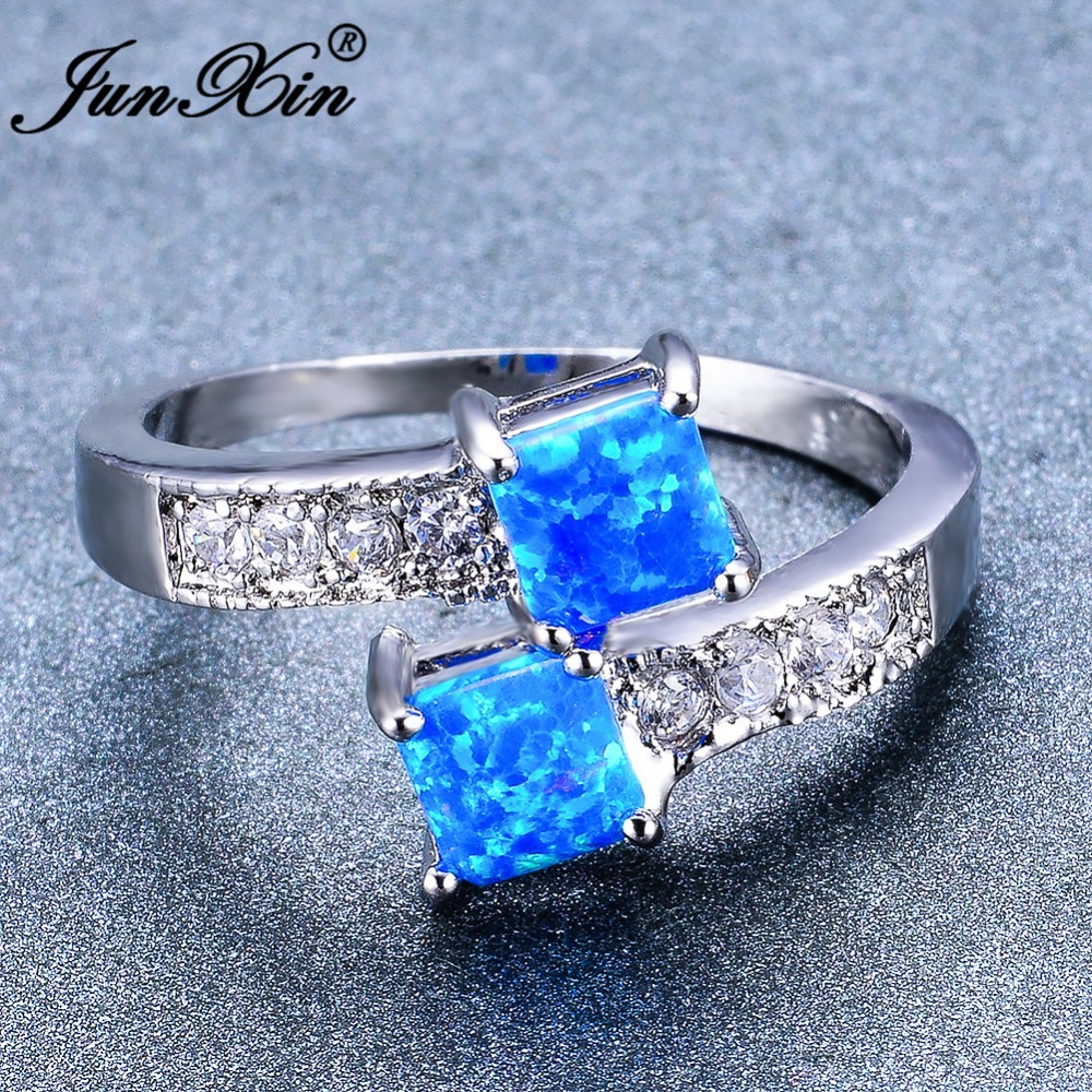 JUNXIN Blue/White Fire Opal Square Ring White Gold Filled Wedding Jewelry Fashion Promise Engagement Rings For Women Best Gift