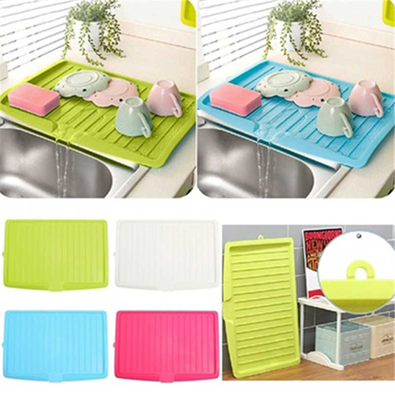 New Kitchenware Cutlery Drip Plate Sink Kitchen Plastic Dish Drainer Tray Large Sink Drying Rack Worktop Storage Rack Organizer