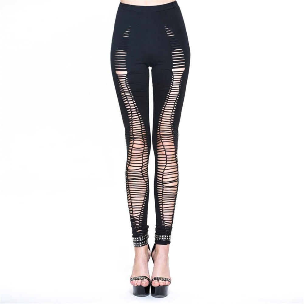 Leggings en coton déchiré Punk pour femmes Leggings de Fitness élastiques à trous Leggings Skinny à taille haute en lambeaux