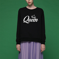 100 Cotton Thin Fabric King Queen Sweatshirt Women Autumn Harajuku Sweatshirts Couple Lover Hoodies kpop hoodie