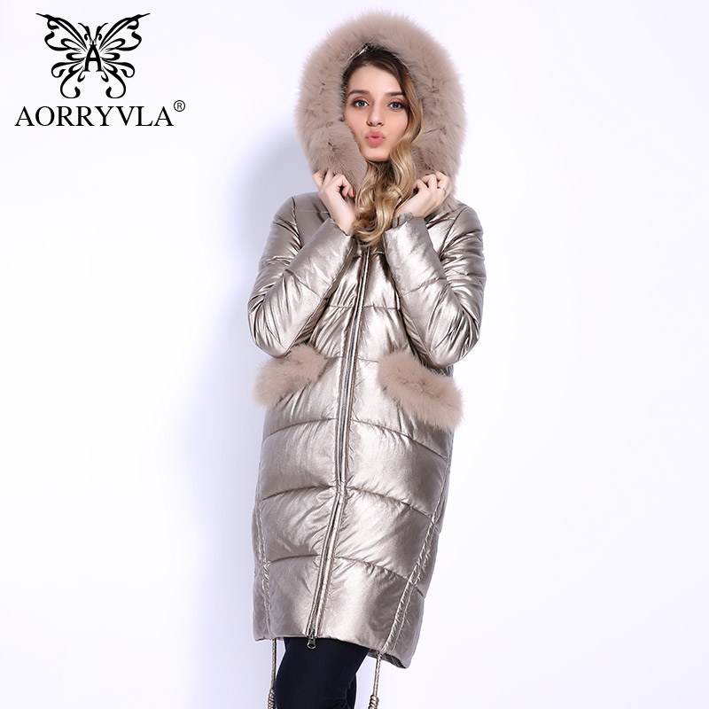 AORRYVLA 2018 New Fashion Women s Thick Winter Full Sleeve Real Fox Fur Hooded Long Coat