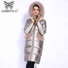 AORRYVLA 2018 новые женские Модные кожное пальто толстый зимний куртка длинный рукав натуральным лисьим мехом Длинное пальто с капюшоном куртка из эко-кожа хорошее качество