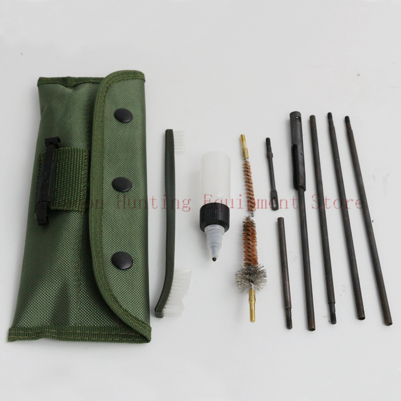 Rifle Carbine Cleaning Portable Kits With Pouch Rod Brushes Bottle Cleaning Set