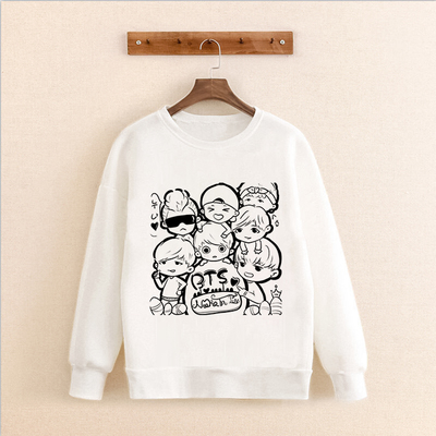 New kpop BTS Bangtan Boys the Same Around Korean Version Hoodie Sweatershirt Round Neck Men and Women Hoody ...