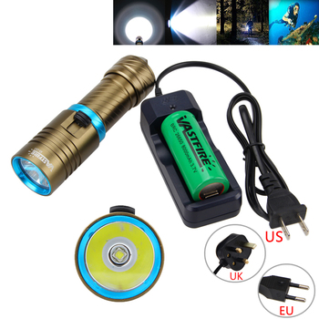 Waterproof 800 LM Scuba Diving Flashlight XM-L2 LED Torch Camping Lantern Underwater 100 Meter Lamp+26650 Battery+Charger