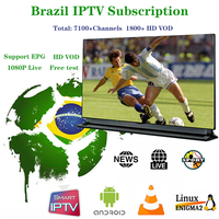 1 year Brazil IPTV M3u Subscription with 7100 Channels include News Sport Music Cinema Adult Live Support H96 E2 Mag250 TV Box