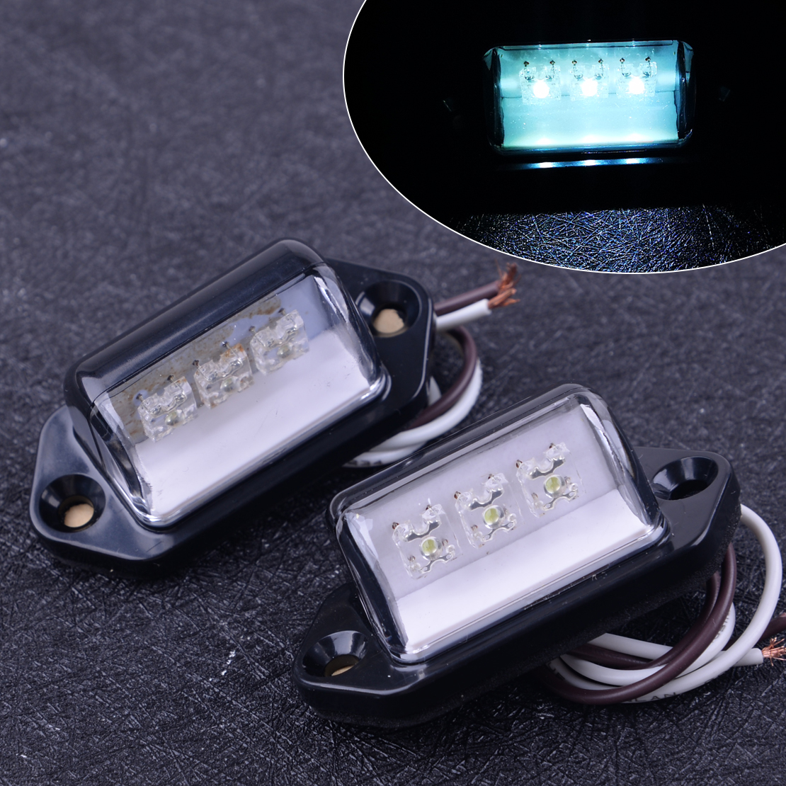 2pcs Car Boat Truck Trailer Waterproof 3 LEDs White License Number Plate Light Lamp 10-30V ABS High Quality Accessories