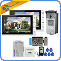 9 inch Bedraad Video Deurtelefoon Intercom 2 Monitor + 1 RFID Toegang IR 700TVL Camera + Elektrische controle Deurslot