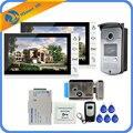 9 zoll Verdrahtete Video Tür Sprechanlage Entry System 2 Monitor + 1 RFID Zugang IR 700TVL Kamera + Elektrische steuerung Türschloss