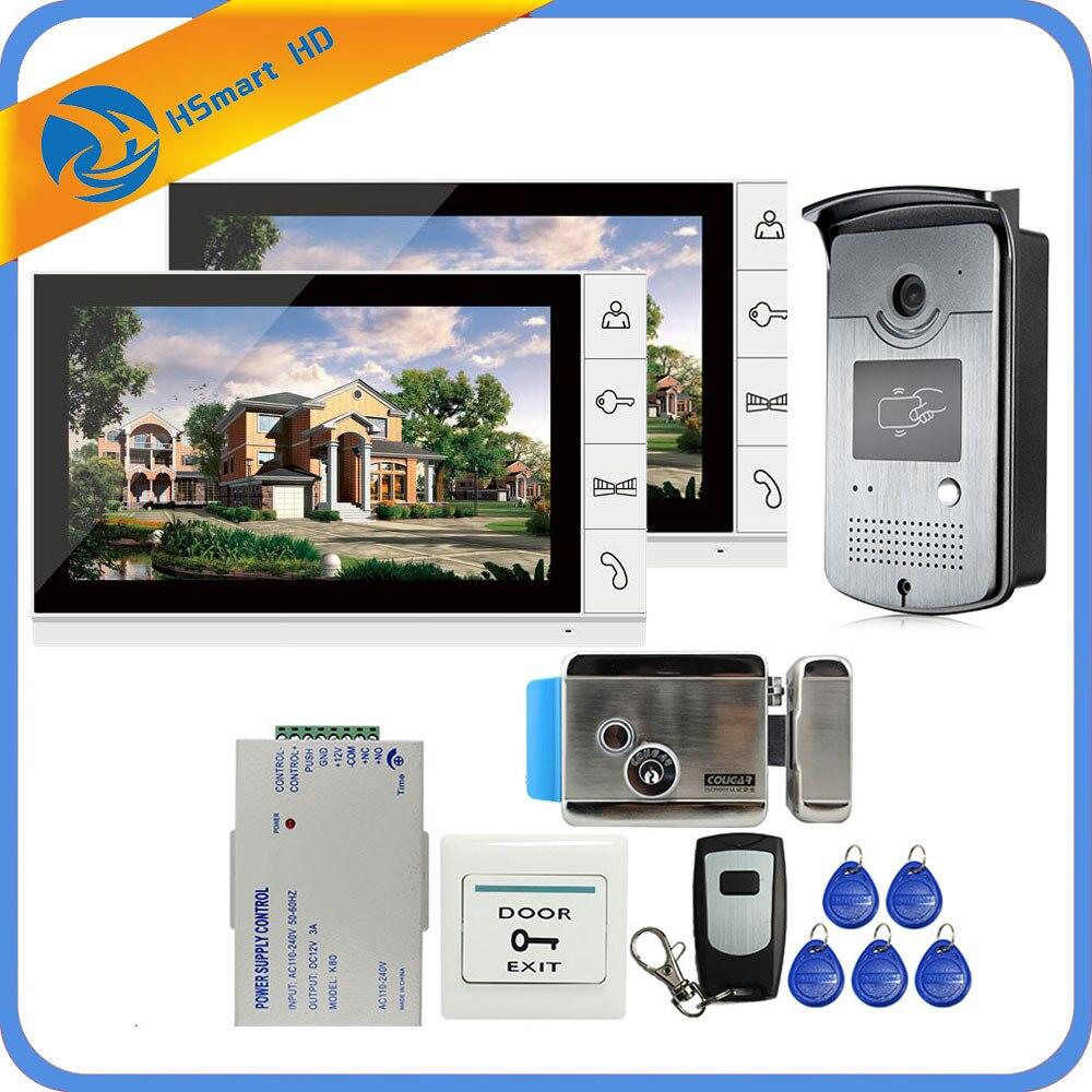 Système d'entrée d'interphone vidéo filaire 9 pouces 2 moniteur + 1 accès RFID caméra IR 700TVL + serrure de porte à commande électrique