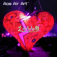 portable standing on ground big decoration Inflatable broken heart with LED lights for event and party come with air blower