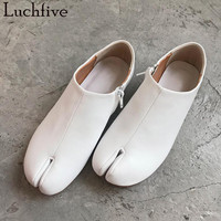 Spring summer lazy Flat Shoes white silver black sheepskin Split Toe chic Casual Shoes Woman fetish ankle boots for ladies