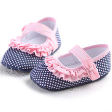 2017 Summer  Baby Girl Polka Dots Pink Lace Flower Ruffled Shoes Toddler Soft Bottom Princess Shoes Prewalkers Footwear