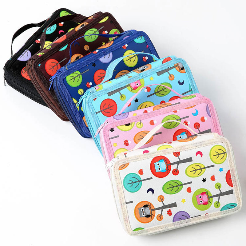 2 Layers 32 Holders Animal Owl School Pencil Case Big Capacity Colored Marker Pencil Pen Bag Box for Girls Boys Art Supplie big capacity high quality canvas shark double layers pen pencil holder makeup case bag for school student with combination coded lock