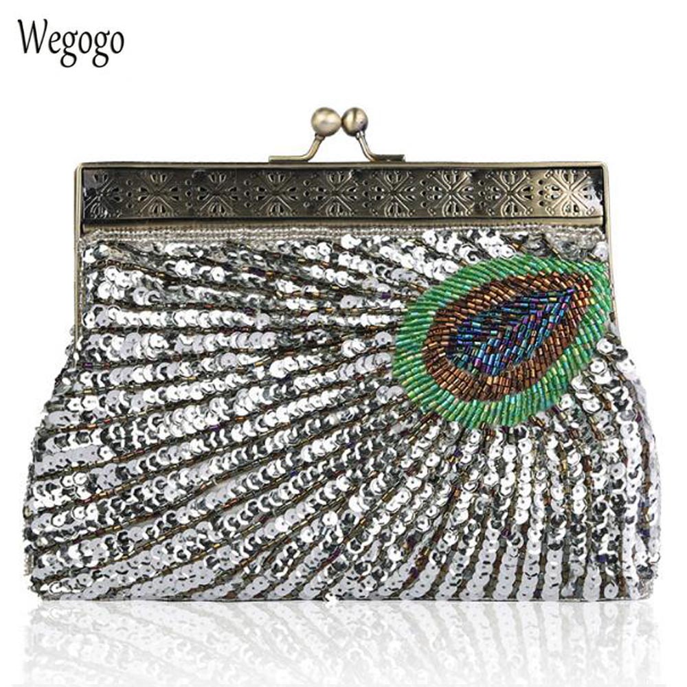 Vintage Woman Evening Bag Handmade Sequined Peacock Clutch Metal Frame Party Club Dinner Purse Wedding Bridal Bag