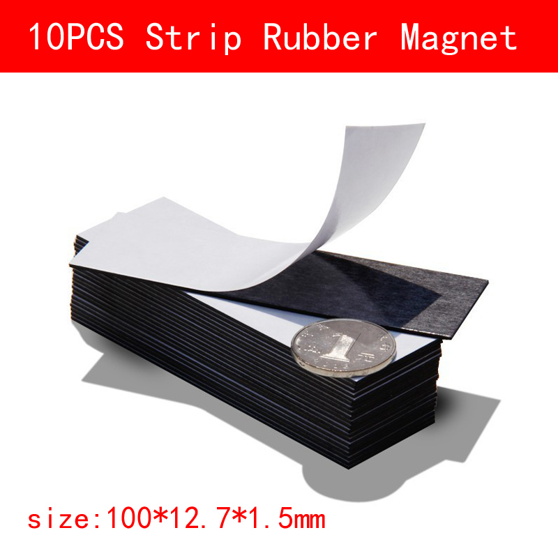 10pcs 100*12.7*1.5mm Flexible soft rubber Magnet With Adhesive diy magnetic sheet For Homemade Fridge Label Name Sticker free shipping 2 meters self adhesive flexible magnetic strip magnet tape width20x1 5mm ad teaching rubber magnet