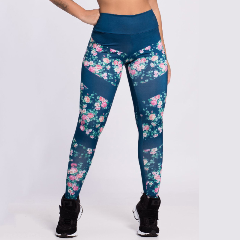 New Women's High Waist Stretch Pants Floral Print Casual Knitted Jeggings Workout Push Up Leggins Mujer Patchwork Women Leggings 1