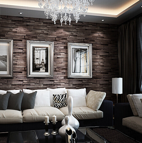 groe wall 3d luxus holz blcke wirkung braun stein ziegel vinyl tapetenbahn wohnzimmer tapeten papel de parede madeira in groe wall 3d luxus holz blcke - Tapeten Wohnzimmer Braun