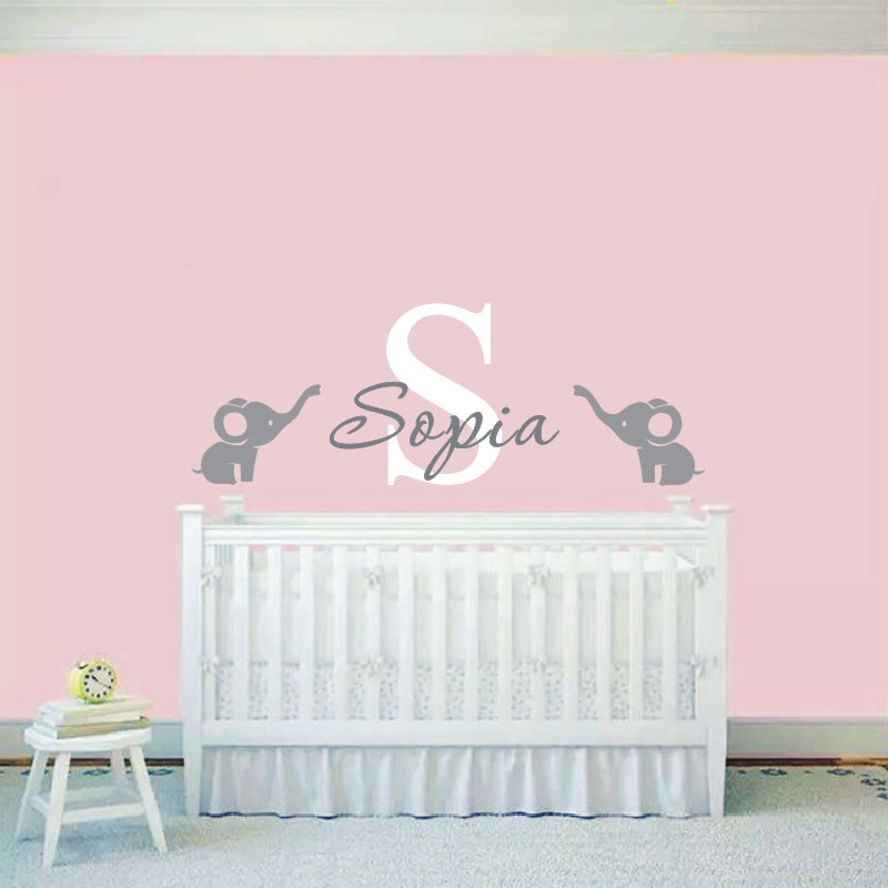 Custom made baby name wall sticker cute elephants wall for Baby room decoration wall stickers