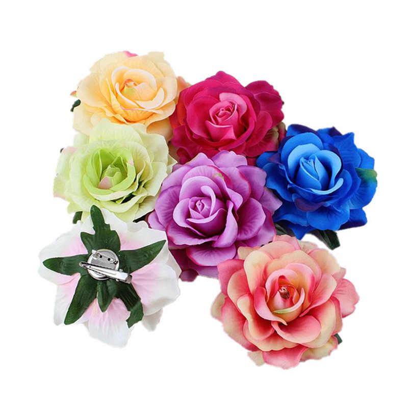 Boho Flower Hair Accessories For Women Bride Beach Rose Floral Hair Clips DIY Bride Headdress Brooch Wedding Flores Hairpin