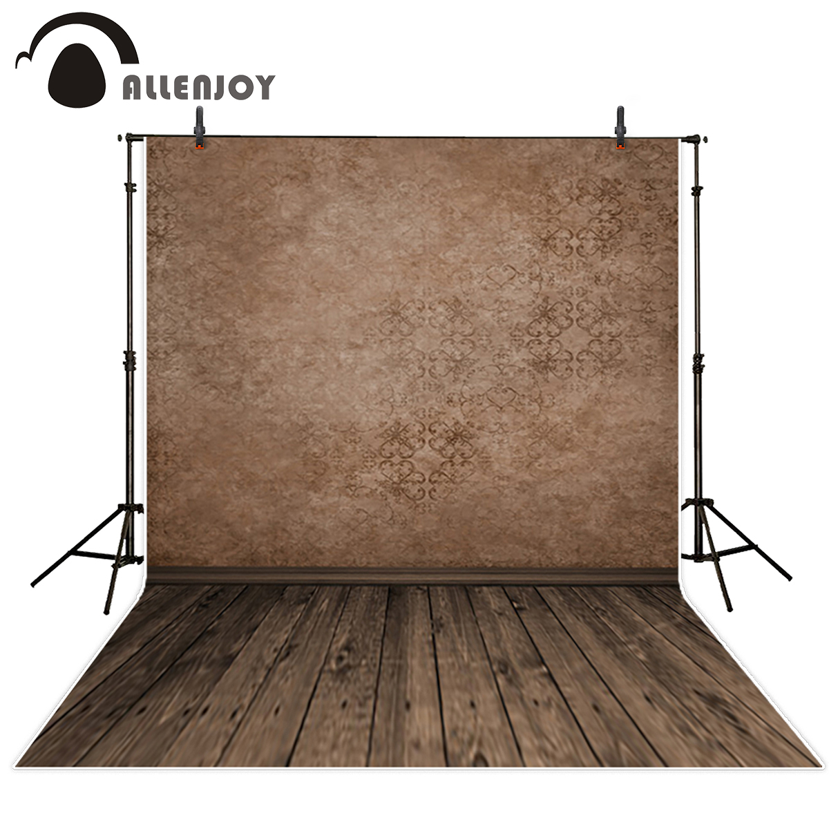 Allenjoy brown damask vintage wall wood floor photography backdrops plank newborn portrait wallpaper background photo studio