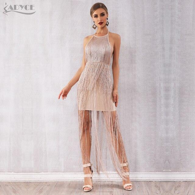 Adyce 2019 New Summer Fringe Women Bandage Dress Vestidos Sexy Celebrity Evening Runway Party Dress Nude Maxi Tassels Club Dress