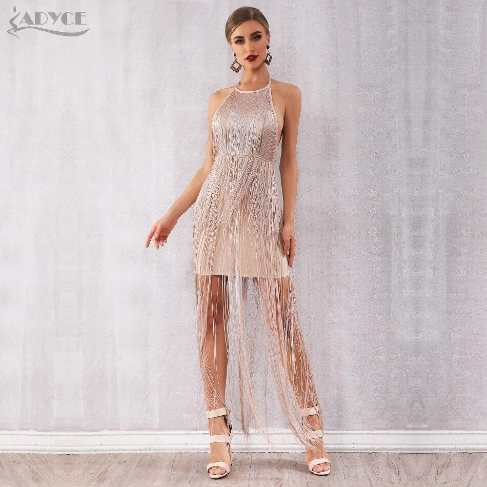 Adyce Maxi Tassels Fringe Club Dress H5669