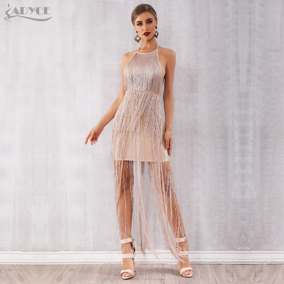 1b576bd7a Adyce mujer vestido Vestidos de Verano 2019 nuevo Verano Sexy celebridad  vestido de fiesta noche desnuda Maxi borlas Fringe Club vestido