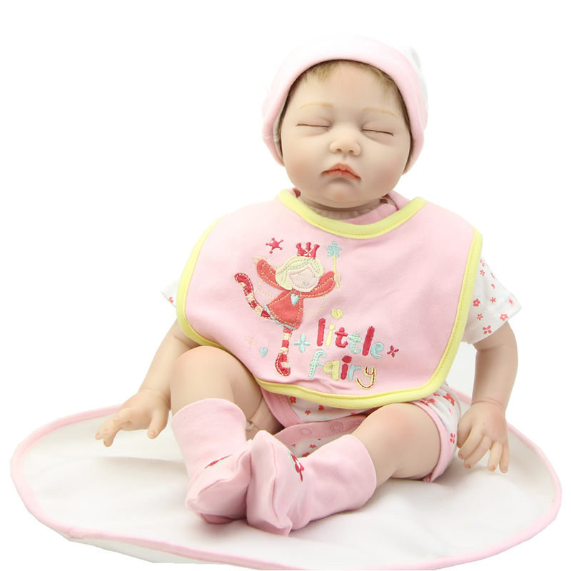 Collectible Baby Doll Reborn Soft Silicone 22 inch Newborn Babies Dolls Lifelike Girl Dolls Kids Christmas Gift handmade 22 inch newborn baby girl doll lifelike reborn silicone baby dolls wearing pink dress kids birthday xmas gift