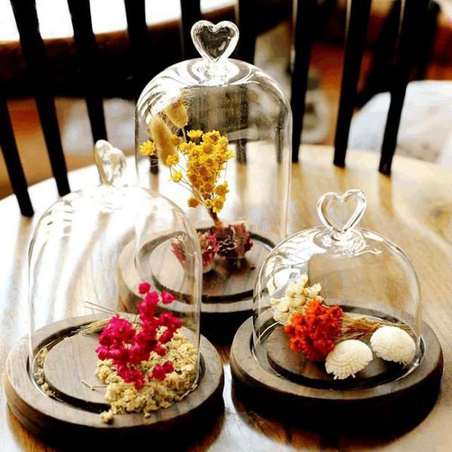 A Set Of 3 Pieces Sweet Heart Dome Landscape Terrarium Cover Vase