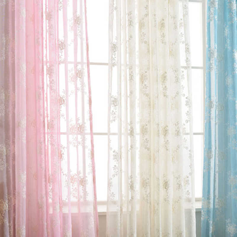 Pink yarn White Blue Flower Embroidered tulle for windows Treatment Sheer curtain for living room nursery Blinds WP064D