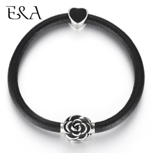Women's Leather Bracelet Black Heart Charms Stainless Steel Flower Magnet Clasp Bangle Female Accessories Braclets Jewelry trendy beads layered magnet clasp flower print bracelet for women