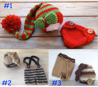 2015 New 3 Colors 100 Cotton Newborn Photography Props Costume Hand Crochet Knit Infant Baby Hat