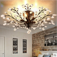 American country village K9 crystal + wrought iron branch Ceiling corridor restaurant lamp